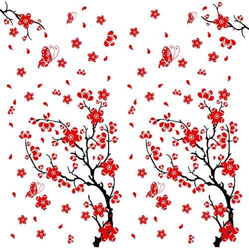 2pcs Pegatinas Pared Vinilos Adhesivos Stickers Decorativos Pared Flores Decoración DIY para Habitación Dormitorio Flores de Ciruelo
