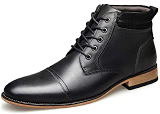 Happy-L Shoes, Classic Ankle Boots for Men High Top Dress Oxfords Lace up Pointed Toe Genuine Leather Burnished Style Stitch Side Zipper Contrast Collar