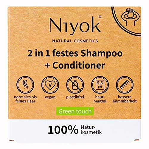 Niyok® 2 in 1 festes Shampoo und Conditioner   hautneutral pH 5,5 vegan plastikfrei   normales bis feines Haar   wie Haarseife Bio Naturkosmetik ohne Plastik   Green touch (80g)