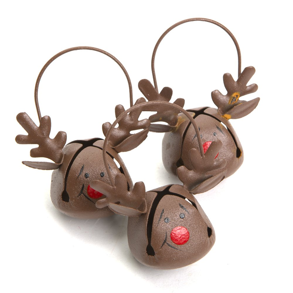 12 Rudolph Reindeer Jingle Bell Christmas Tree Decorations