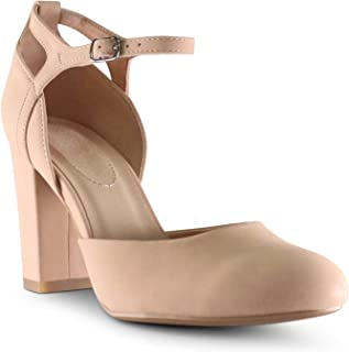 AFFORDABLE FOOTWEAR Women's Almond Toe Ankle Strap Memory Foam Cushion Chunky Block Heels Shoes