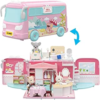 TOYROOM Dollhouse Miniature Kits Toddler Dollhouse Playset Preschool Dollhouse Miniatures Bus Toy with Little Bunny Doll M...