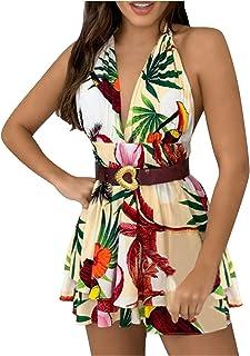 SicongHT Kleid Damen Kleider Sexy V-Ausschnitt Blumendruck Boho Kleider Halfter Ärmellos A Linie Minikleid Sommerfest Sommerkleid