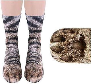 Ndier, Ndier Patrón 1 Pareja Creativa impresión 3D Patas de Animal Calcetines Unisex Humor Infantil de algodón Calcetines del Gato