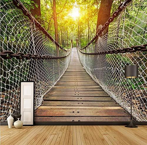 Papier peint 3D stéréo Pont de suspension forêt Paysage mural 3D Décoration d'intérieur 200 x 140 cm