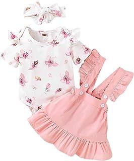 TiaoBug Baby Mädchen Kleidung Set Baumwolle Body Langarm Strampler  Mini Kariert Rock mit Hosenträger  Schleife Stirnband Geburtstag Party Outfits
