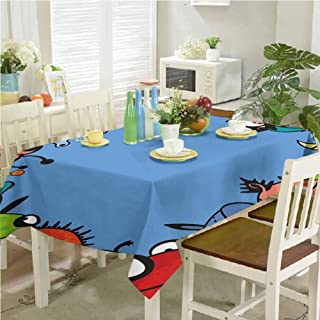 Wrinkle Free Tablecloths Monster Cheerful Creatures Together Nursery Baby Playroom Childish Characters Print 54