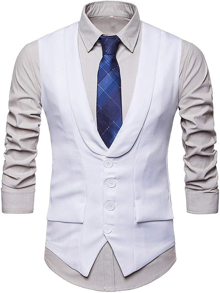 MODOQO Men's Lapel Business Waistcoat Single Breasted Casual Slim Fit Suit Vest