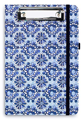 Vera Bradley Blue Mini Clipboard Folio with Refillable 9'x6' Lined Notepad, Interior Pocket, and Pen Loop, Ikat Island Tile