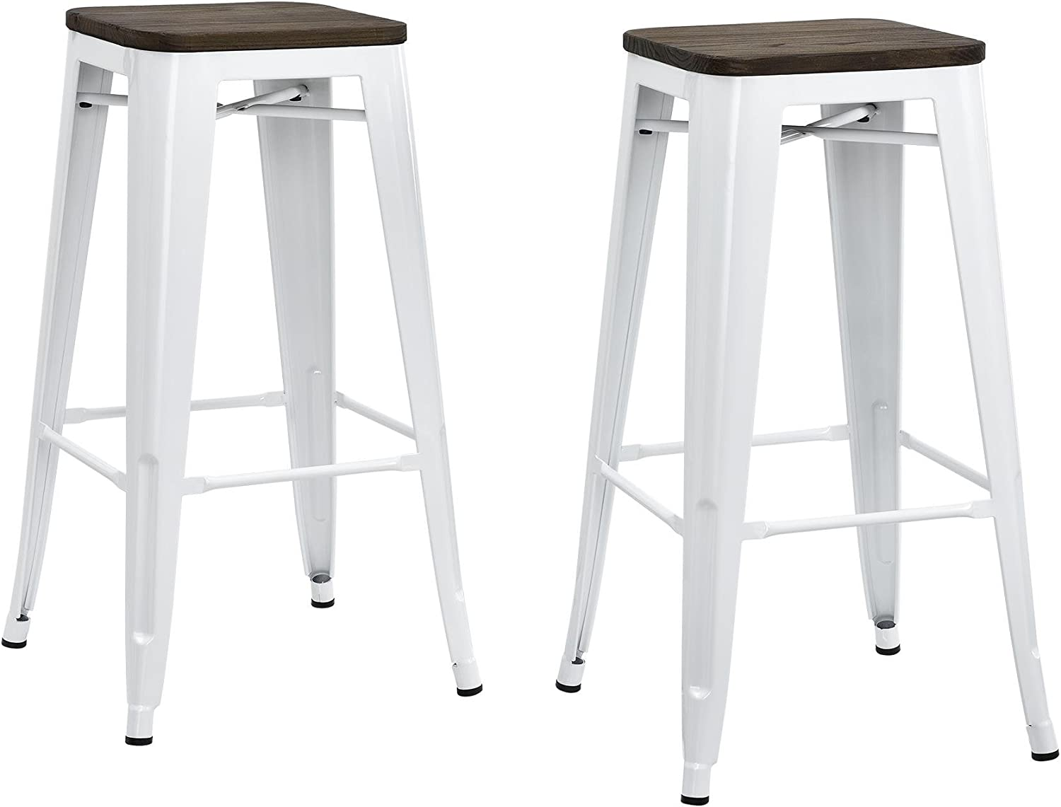 DHP Fusion Metal Backless 30  Bar Stool with Wood Seat, Distressed Metal Finish for Industrial Appeal, Set of two, White