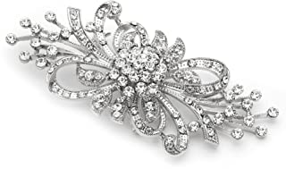 Mariell Vintage Design Bridal Crystal Brooch Pin - Antique Silver Rhinestone Fashion Accessory
