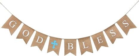 Baptism banner,God bless banner,christening banner,first  communion banner,confirmation banner,baptism decor,christening decor,blue and gold