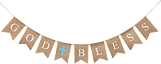 WATINC God Bless Baptism Banner, Communion Party Banner, Christening Decoration Kit for Wedding, Baby Shower Party, First Communion (Blue)