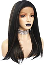 Anogol Hair Cap+Synthetic Fiber Wigs Black Long Silk Straight Synthetic Lace Front Wig with Brown Highlights Large Parting Space Lace Heat Resistant with 20 Inches