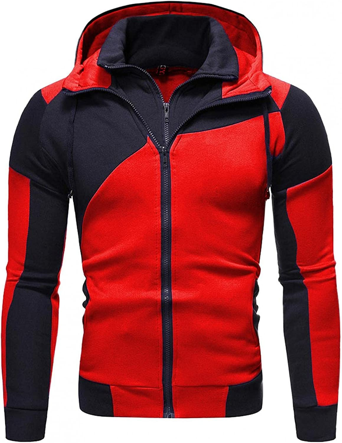FUNEY Men's Hooded Athletic Tracksuit Running Jogging Sports Sweatshirts and Pants Set Casual Full Zip Jogging Sweatsuits