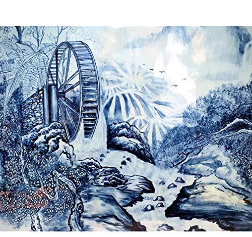 Papel pintado Papel pintado personalizado Chino porcelana azul y blanca carro de agua pintado a mano paisaje TV fondo paredes papel tapiz 3d