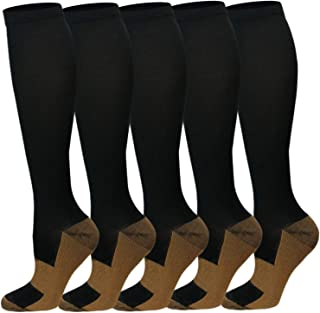Copper Compression Socks For Men & Women(3/5 Pairs)- Best For Running,Athletic,Medical,Pregnancy and Travel -15-20mmHg