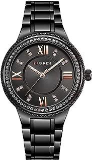 CURREN Reloj Mujer Análogo Correa Metalica, Diseño Vintage, Moda y Juvenil, Caja Con detalles Brillantes, Resistente Al Agua.