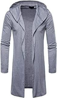 Alimao 2019 New Hooded Coat Cardigan Sweaters for Men Solid Trench Jacket Outwear Blouse