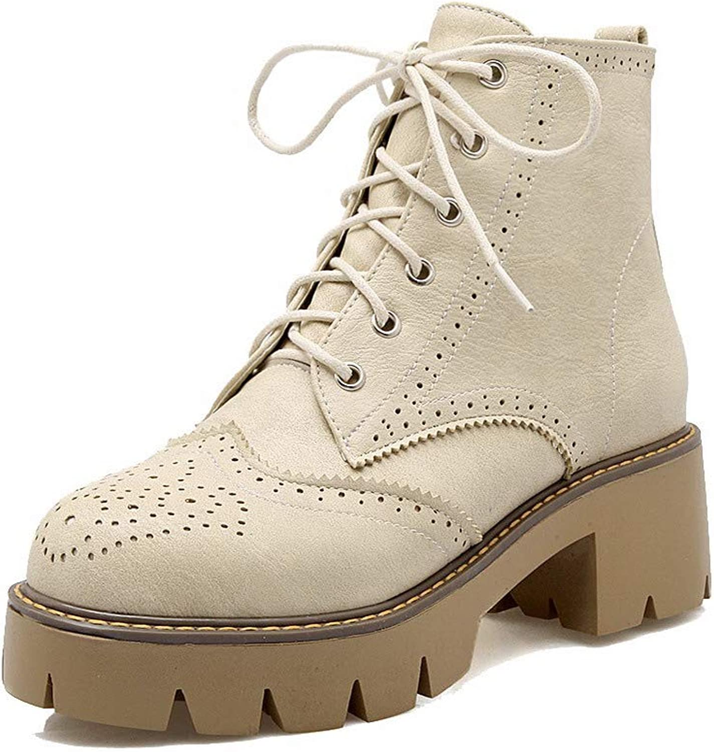 AllhqFashion Women's Ankle-High Solid Lace-Up Round-Toe Kitten-Heels Boots, FBUXD127439