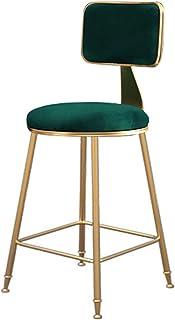 WHOJA Taburete de Bar Taburete Alto Dorado Muebles de Bar Respaldo Suave Cojín de Terciopelo Verde Sillón de Restaurante Teniendo 200 kg de Peso Alto 45/65/75 cm Silla de Comedor