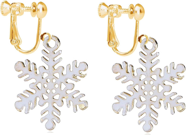 Christmas Snowflake Clip on Earrings Dangle for Women Teens Girls Kids Santa Xmas Jewelry Gold tone