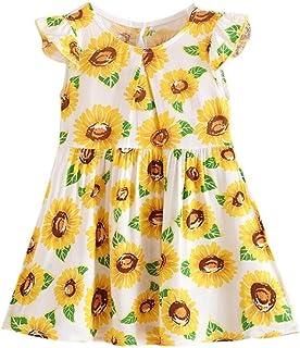 Tonsee 女の子 ワンピース ガールズ プリンセスドレス 夏 袖なし 花柄 ドレス ビーチ パーティー カジュアル デーリー 旅行 プレゼント 100CM-140CM