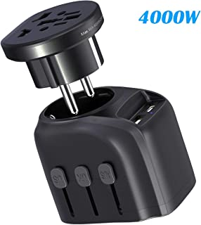 Glamfields travel adapter worldwide all in one international power adapter fast wall Charging cover 200+ countries 100V-250V (EU UK USA AU Plug) (3USB+1Type C) (2500W/4000W/16A)