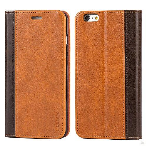 Mulbess Cover per iPhone 6s Plus, Custodia Pelle con Funzione Stand per iPhone 6 Plus / 6s Plus (5.5 inch) [Book Case], Marrone