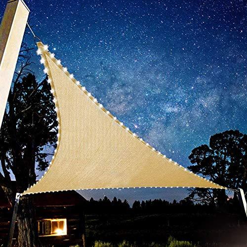 LUKUCEA 3 x 3 x 3m Toile Triangulaire Ombre Jardin Résistant à l'eau Protection Rayons UV avec Chaîne Lumineuse LED Intégrée pour Terrasse Camping Extérieur Jardin,Big Red