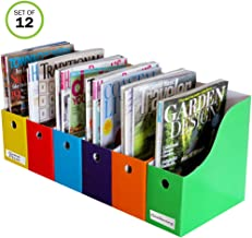 Evelots Magazine File Holder-Organizer-4 Inch Wide-6 Colors-With Labels-Set/12