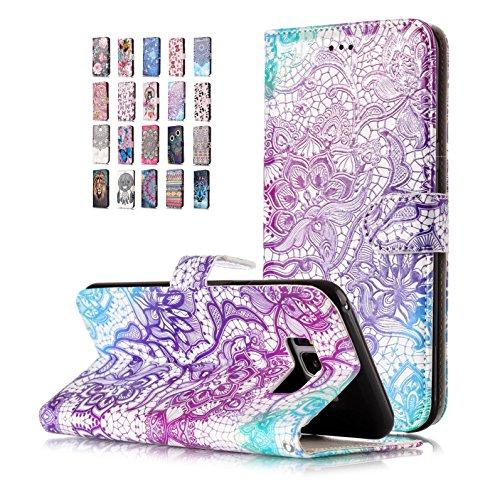E-Flamingo Universecase Funda Compatible con Samsung Galaxy S7 Edge Cartera Cordón Morado Diseño Cuero con Iman Cierre Tarjetero Libro Shell Cover Inquebrantable para Mujer Chica