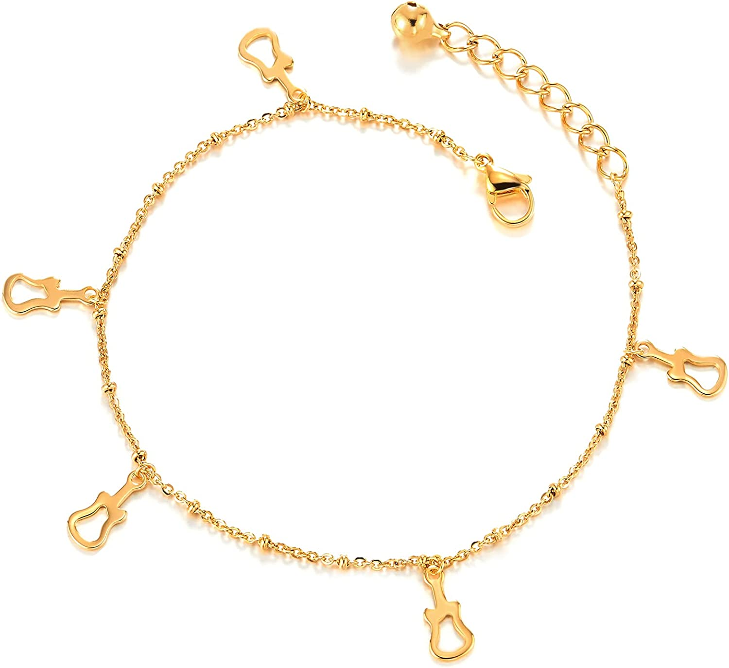 Stainless Steel Gold Color Anklet Bracelet with Dangling Charms of Guitars and Jingle Bell