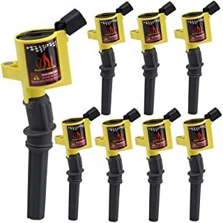 DG508 Ignition Coil 8 Pack High Energy Curved Boot Ignition Coil Pack for Ford Lincoln Mercury 4.6L 5.4L V8 Compatible with DG457 DG472 DG491 C1454 C1417 FD503,Yellow