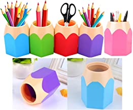 Gemini_mall Pack of 5 Assorted Pen Vase Pencil Pot Makeup Brush Holder Stationery Desk Tidy Organizers (1 Set 5 Color)
