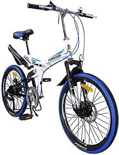 22in bicicleta de montaña plegable for adultos, unisex al aire libre plegable de la bicicleta de 7 velocidades, suspensión...