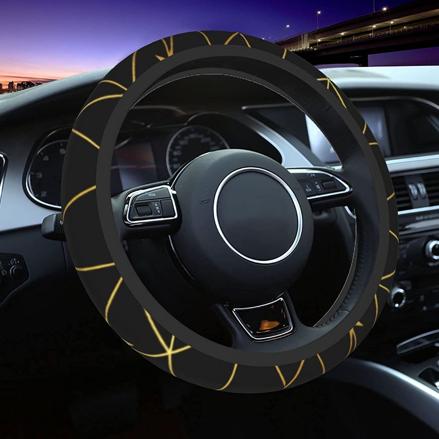 Black and Gold Stars Network Non-Slip Memphis Low price Mall Steering Cover Elast Wheel