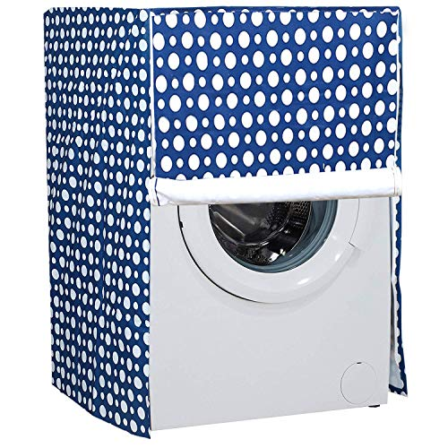 Amazon Brand - Solimo PVC Front Load Fully Automatic Washing Machine Cover, Polka, Blue