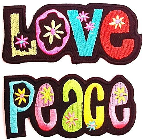 b2see Aufnäher Love + Peace Aufnäher Patches Aufnäher Aufbügler 2 er Set jeweils 10.5 x 5 cm