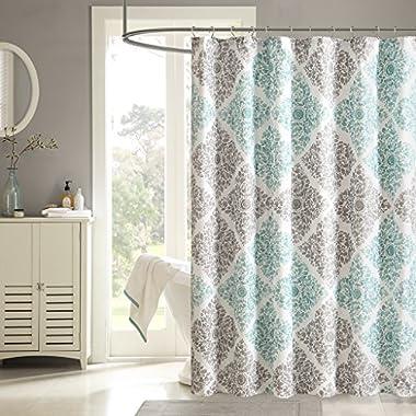 Madison Park MP70-1465 Claire Shower Curtain, 72 x 72, Aqua