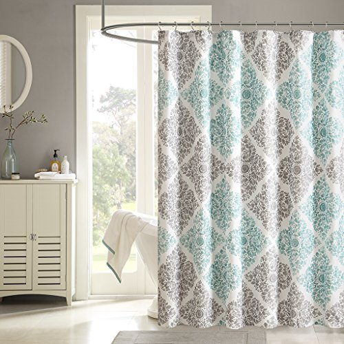 Madison Park MP70-1465 Claire Shower Curtain 72x72 Aqua, 72 x 72