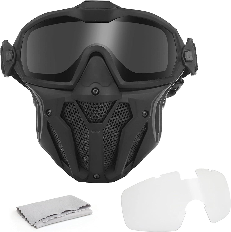 FOJMAI Juego de máscara táctica de airsoft y gafas de paintball CS Juego de cara completa protectora transpirable máscara con versión de ventilador gafas