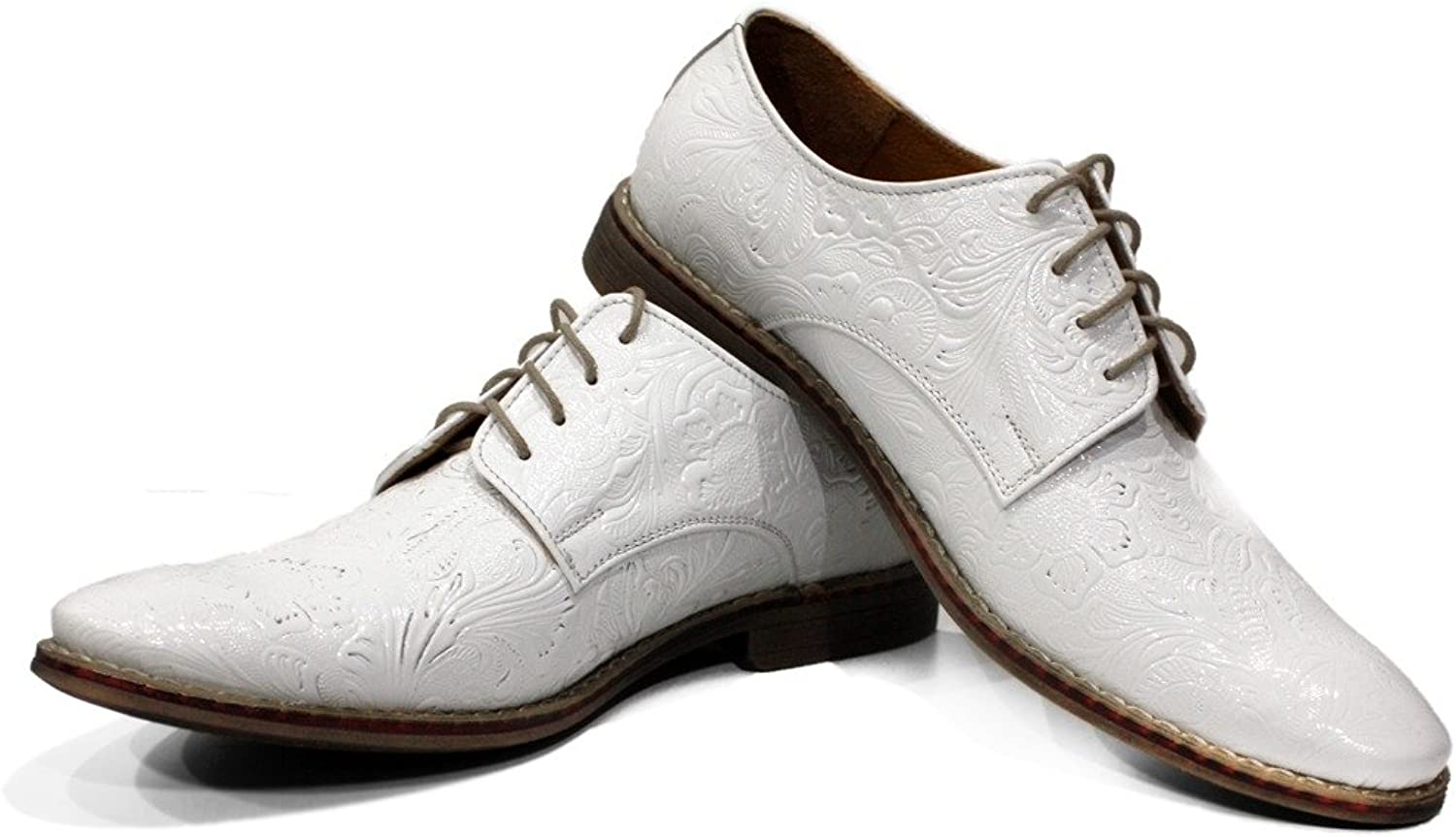 Modello Chalk - Handmade Italian Leather Mens color White Oxfords Dress shoes - Cowhide Embossed Leather - Lace-Up