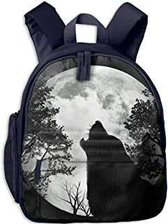 Pinta Wolf and The Moon Cub Cool School Book Bag Backpacks for Girl's Boy's