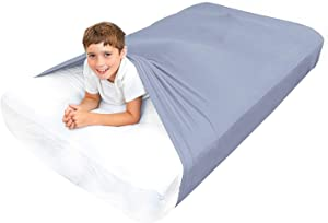 Sensory Bed Sheet for Kids Queen Size Compression Alternative to Weighted Blankets - Help Increase Calm and Comfort - Breathable, Stretchy, Comfortable (Gray, Queen)