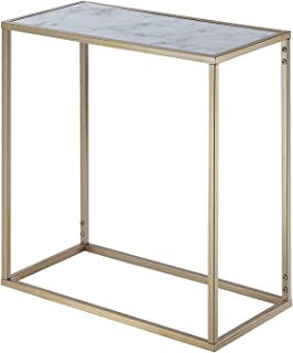 Convenience Concepts Coast Chairside Table, Faux Marble/Gold