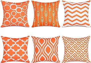 Topfinel 6er Set Kissenbezüge 50x50 cm Qualitäts Kissenhüllen in Segeltuch mit Geometrischen Mustern für Sofa Auto Terrasse Zierkissenbezüge Serie Orange und Weiß