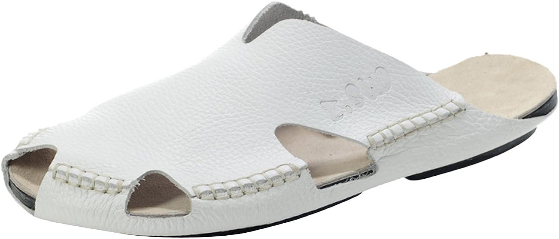 DQQ Men's White Stitch Slip On Sandal 10.5 US