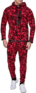 Men's 2 Pieces Zipper Hoodie Tracksuit Set Camouflage Sweatshirt Jogger Zip Sweatpants Solid Patchwork Warm Sports Suit