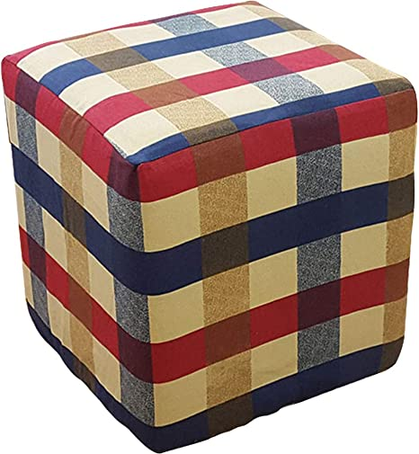 Amazon Com Plafueto Canvas Ottoman Cover Square Ottoman Slipcover Cotton Footstool Protector Storage Ottoman Covers Furniture Protector Home Decor Red 15 7 X15 7 Home Kitchen